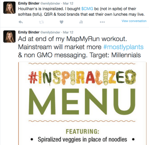 Screenshot of tweet about Houlihan's Inspiralized Menu