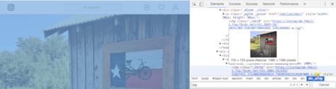 Chrome Developer Tools highlighting Instagram photo URL