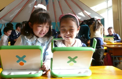 girls with the olpc in mongolia