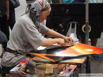 Street artist on La Rambla