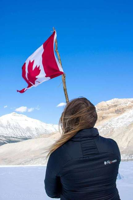 Me-on-Athabasca-Glacier-Flag