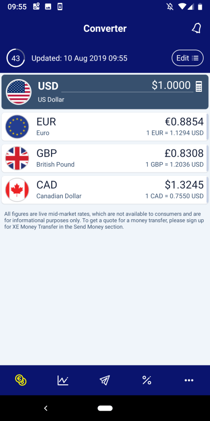 Screenshot of XE Currency App