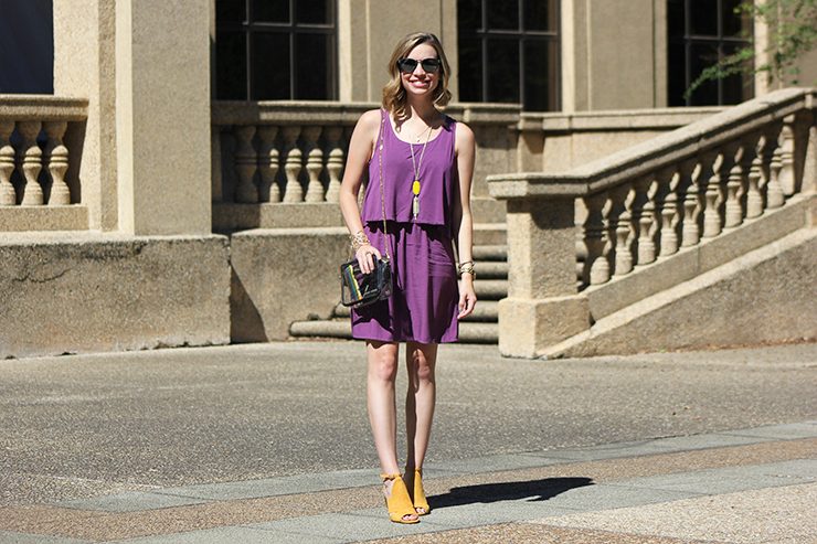 Purple dress with yellow shoes