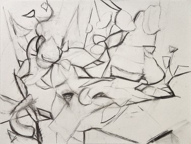 "No. 9, Tabletop Construction with Still Life, Charcoal on Paper, 18"" x 24"", 2010"