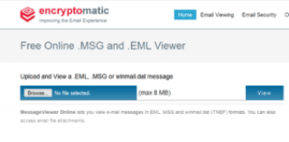 Screen image of the Encryptomatic free online .msg and .eml email file viewer. https://www.encryptomatic.com/viewer/