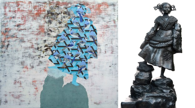 James Fisher from 21 to 25 January 2015. Image: JAMES FISHER Isabella Bird, 2014 , oil on linen (left) Denise de Cordova, Bella Bird, 2014, mixed media (right)