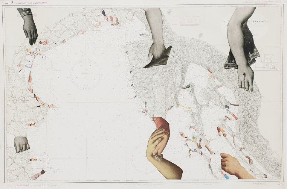 DEIRDRE KELLY Hands across the Water, 2011, Collage on Nautical Chart, 75.5cm x 115cm
