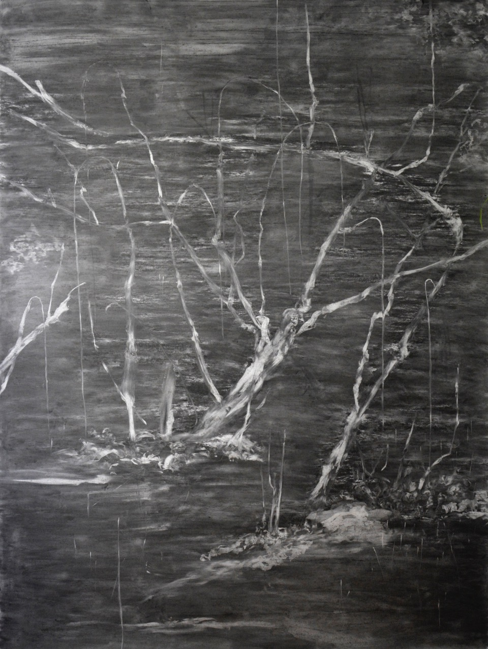 FABRICE CAZENAVE Paysage Aveugle - Large, 2015, Charcoal on 224 gsm Clairfontaine drawing paper 200 x 152cm