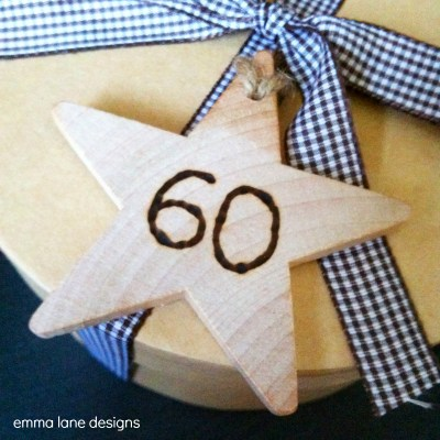 Rustic wooden star gift tag