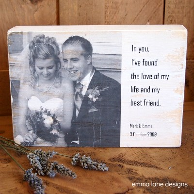 Wooden photo message block
