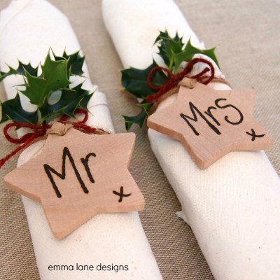 Wooden Star wedding favours