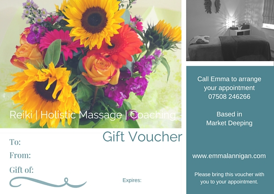 belifehappy wellbeing Gift Vouchers for reiki and holistic massage based in Market Deeping