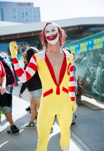 Cosplay mashup of The Joker and Ronald McDonald