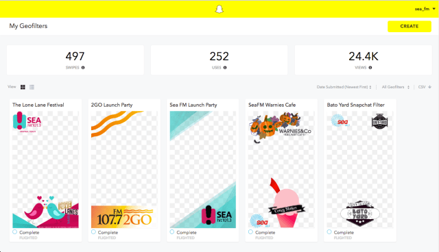 Snapchat Geofilters for SeaFM & 2GO