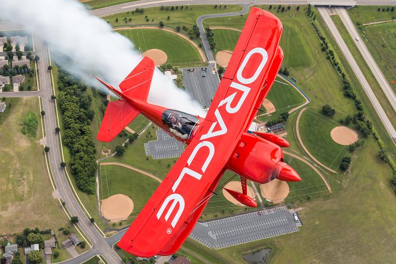 The aerobatic superstar, Sean D. Tucker, plays some aerial baseball over Minnesota.