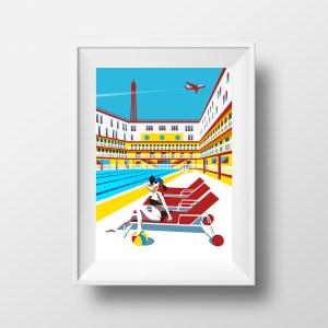 Affiche illustration Piscine Molitor Paris