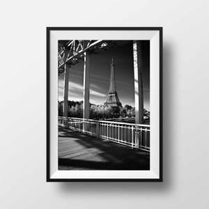 Tour Eiffel et la passerelle Debilly en Noir et Blanc