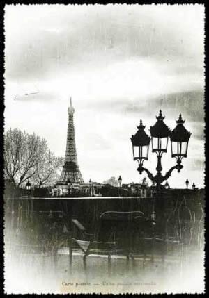 Cartes Postales Paris vintage - La Tour Eiffel et le Jardin des tuileries