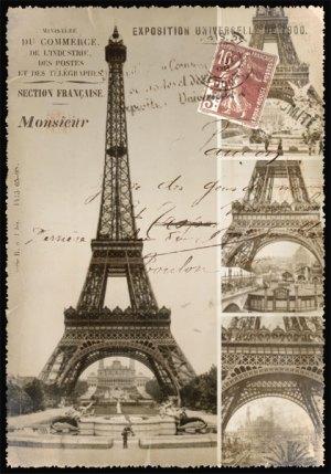 Cartes Postales Paris vintage - Construction Tour Eiffel