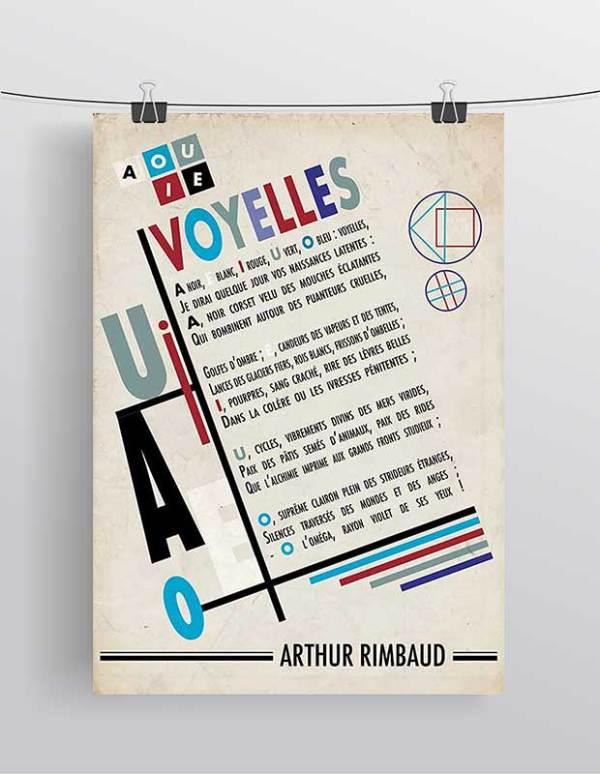 Affiche Poème Voyelles Arthur Rimbaud