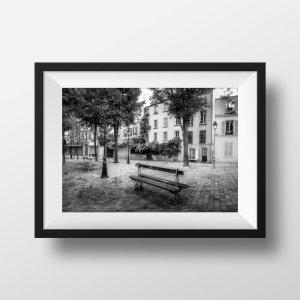 Photo Belleville Ménilmontant Place du Guignier Noir et Blanc