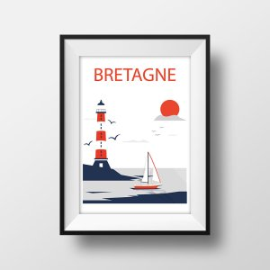 Affiche Illustration Voyage Bretagne en Couleur