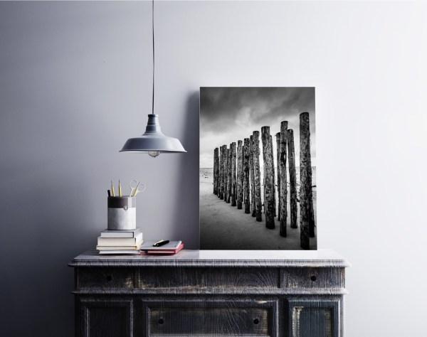 Bretagne Plage Digue Bois Photo Noir et Blanc
