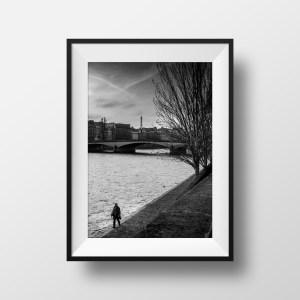 Tirage Photo Paris Noir et Blanc Les Quais et la Tour Eiffel