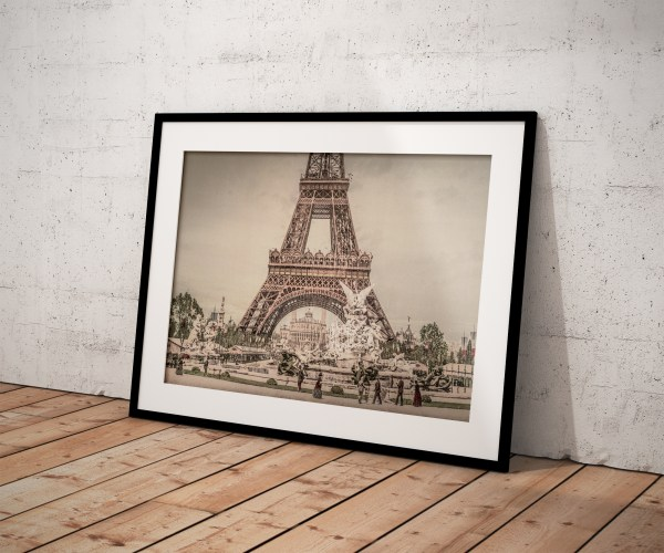 Photo Ancienne Tour Eiffel Exposition Universelle