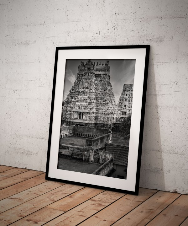 Photo Noir et blanc Inde Srirangam Gopuram