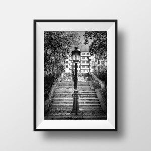 Escaliers Réverbères Vieux Paris