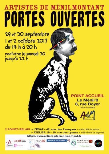 Invitation Portes Ouvertes Artistes de Ménilmontant 2017 // du vendredi 29-09 au lundi 02-10