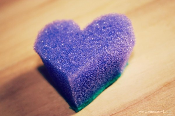 Sponge Printing. Childs Play this valentines Day