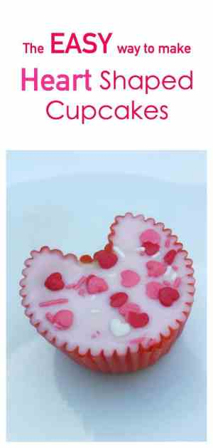 The EASY way to make a try full of heart shaped cupcakes. Perfect solution for valentines day baking
