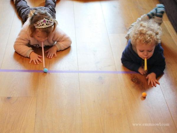 Kids Indoor Activity - Racing Pom POms