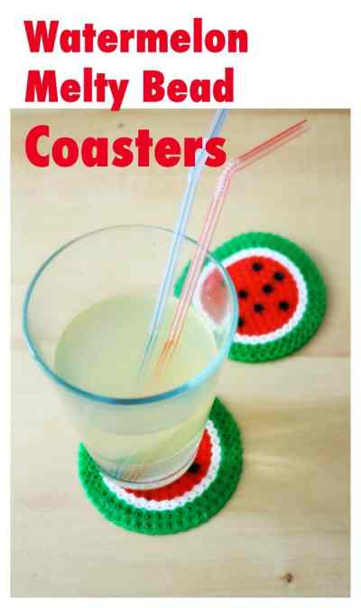 DiY Watermelon Coasters - made from Melty Beads  Hama Beads. Such a great fine motor craft project for kids!