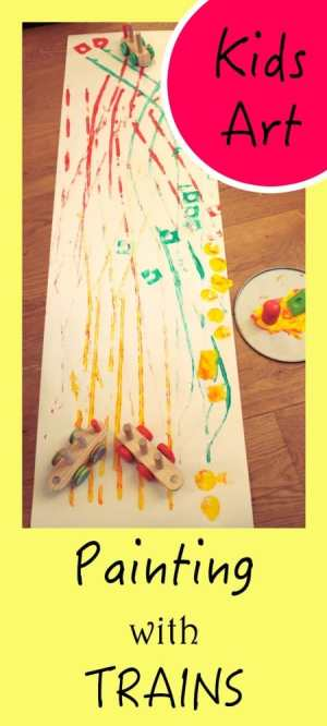 Awesome Kids Art Activity. Painting with trains on long paper - fun and movement