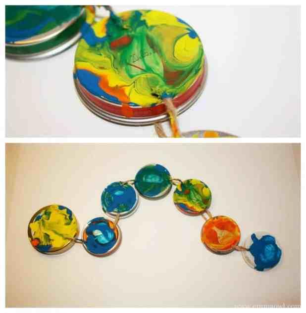 Caterpillar craft for children using baby food jars