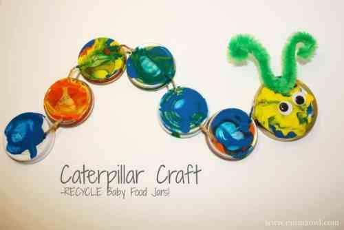 Caterpillar craft - recycle baby food jars
