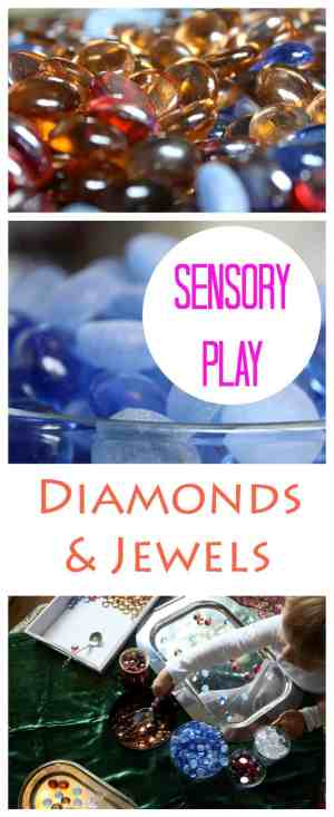 Sensory Play Activity for Children. Diamonds and Jewels also become art - if you let them!
