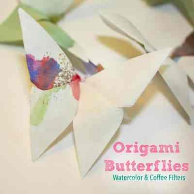 Coffee Filters and Watercolor Origami Butterflies