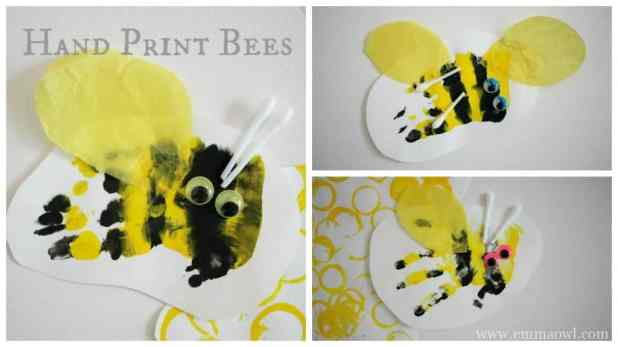 Hand Print Bee Hives. This is so cute