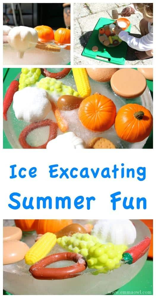 Ice Excavating is a great kids activity. Keep them busy for hours and they learn about how ice melts - with warm water and salt. Sneaky little science lesson.