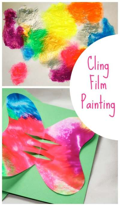 Painting with Cling Film produces the most amazing results! This is a painting idea for Children of all ages.