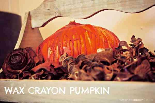 wax crayon pumpkin. great fall decorating project