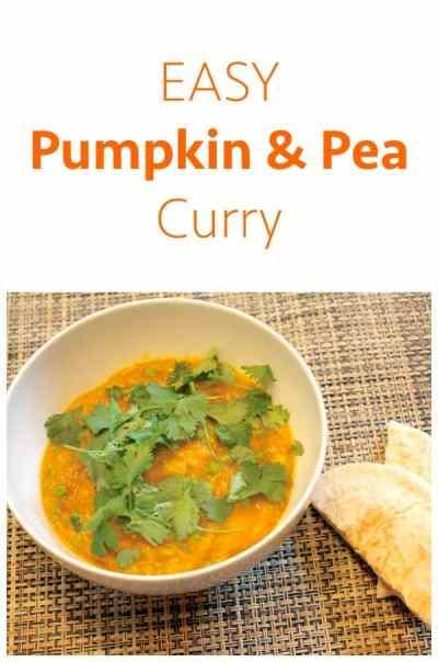 Easy Pumpkin and Pea Curry. An Alternative to a pumpkin dinner.