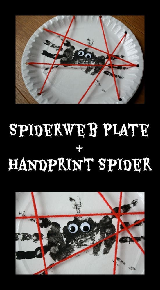 Halloween Craft for Kids! This great art project and includes a threading & hand printing activity!