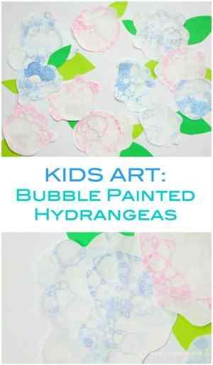 Fantastic Kids Art Project - painted hydrangeas using a fun technique of blowing bubbles!