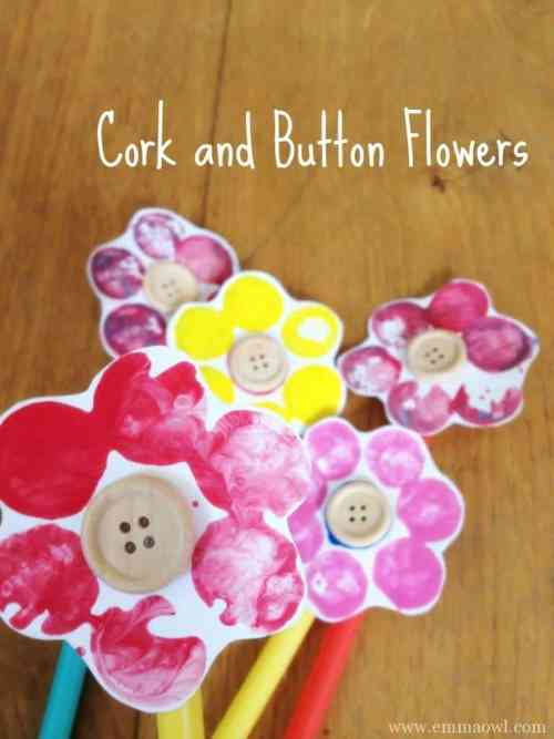 Beautiful flowers made from corks and buttons
