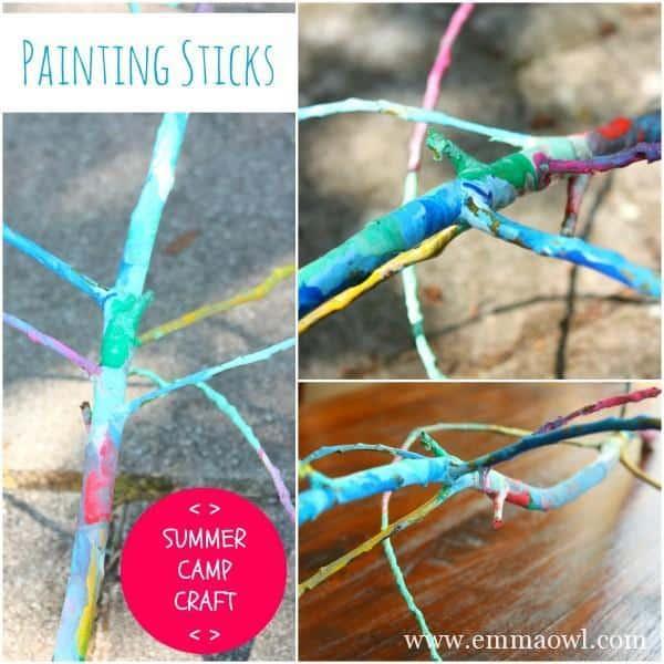 OutDoor Camp Craft. Painting sticks